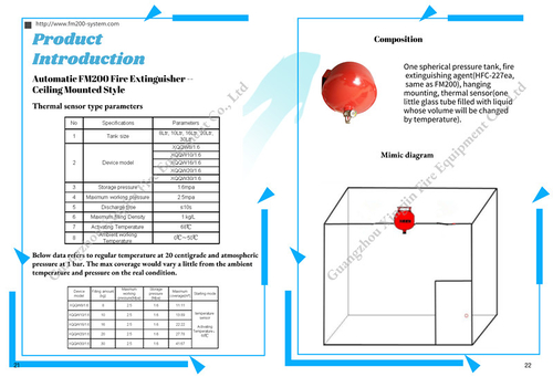 company cases about Catalogue of FM200 automatic fire suppression system (Both hanging types)