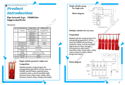 company cases about Catalogue of FM200 pipe network type fire suppression system