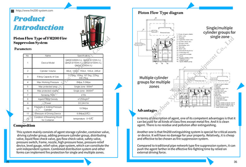 company cases about Catalogue of FM200 piston flow type fire suppression system